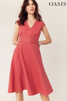 Oasis Coral V-Neck Fit & Flare Dress