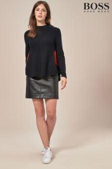BOSS Black Faux Leather Mini Skirt