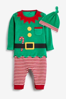 Velour Christmas Elf Dress-Up Footless Sleepsuit (0mths-2yrs)
