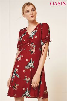 Oasis Red Spaced Havana Floral Frill Tea Dress