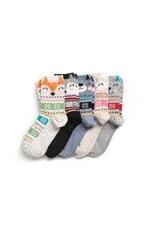 Animal Face/Fairisle Pattern Ankle Socks Five Pack