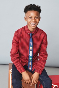 Long Sleeve Check Shirt With Christmas Musical Tie (3-16yrs)