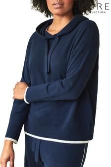 Pure Collection Blue Organic Cashmere Hoodie