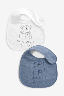 2 Pack Mummy And Daddy Character Regular Bibs