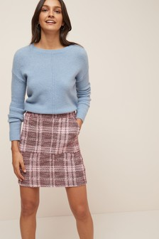 Check Bouclé Skirt