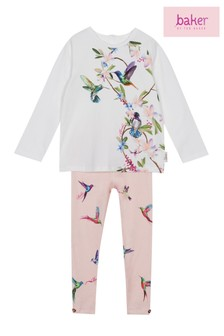 ef2cdd69ac4ec5 baker by Ted Baker Baby Girls Print Pleated Top And Legging