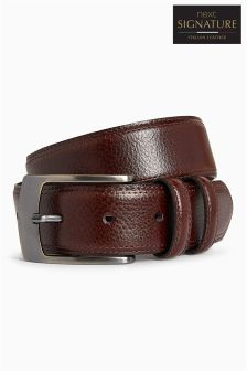 Signature Italian Leather Stitched Edge Belt
