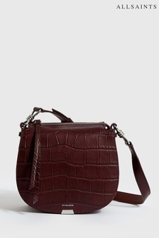 AllSaints Bordeaux Moc Croc Leather Cross Body Bag
