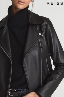 Reiss Goe Leather Biker Jacket