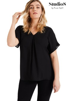 Studio 8 Black Wilhelmina V-Neck Top