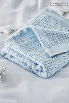 The White Company Blue Cellular Satin Blanket