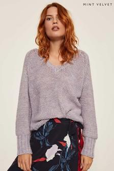 Mint Velvet Purple Tie Back Chunky Knit