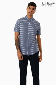 Original Penguin® Blue Short Sleeve Boucle Stripe Shirt