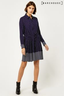 Warehouse Blue Stripe Spot Shirt Dress