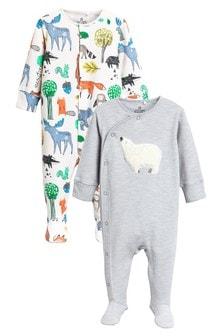 Set de două pijamale întregi din material pufos cu urs (0 luni - 2 ani)