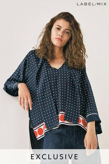 Next/Mix Silk Spot Oversized Print Top
