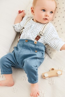 Shirt, Trousers And Braces Set (0mths-2yrs)