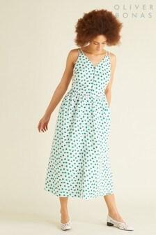 Oliver Bonas Green Calming Spot Midi Dress