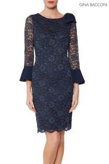 Gina Bacconi Blue Adabella Dress With Crepe Cuff And Bow