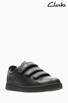 Clarks Black Leather Nate Maze Triple Velcro Kids Trainers