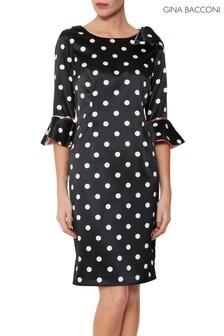 Gina Bacconi Black Bryna Spot Dress