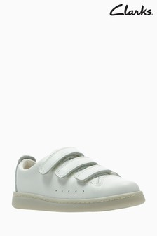 Clarks White Leather Nate Maze 3 Strap Velcro Kids Trainer