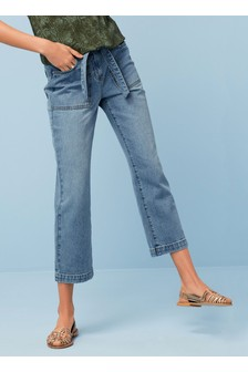 Belted Utility Cropped Jeans