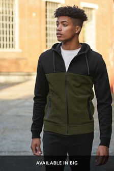 Block Zip Through Hoody