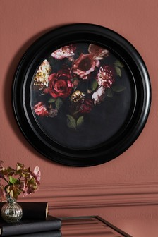 Round Floral Framed Art