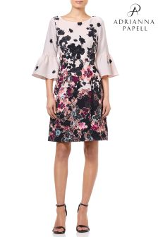 Adrianna Papell Black Floral Bliss Printed  ALine Dress