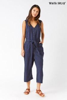 White Stuff Blue Horizon Linen Jumpsuit