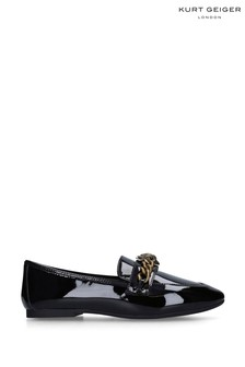 Kurt Geiger Ladies Black Patent Chelsea Loafers