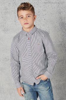 Angel & Rocket Blue White Ticking Stripe Smart Shirt