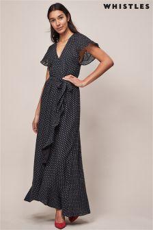 Whistles Spot Wrap Maxi Dress