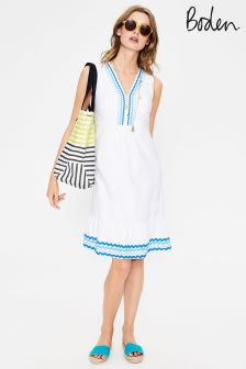 Boden White Easy Rickrack Dress