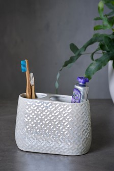 Lustre Embossed Ceramic Toothbrush Tidy
