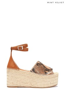 Mint Velvet Animal Jamie Tan Snake Flatform Wedge