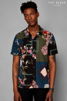 Ted Baker Teal Kaybee Printed Short Sleeve Shirt