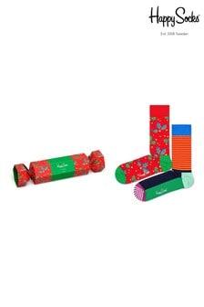 Happy Socks Red Holly Print Socks Two Pack Cracker Gift Box