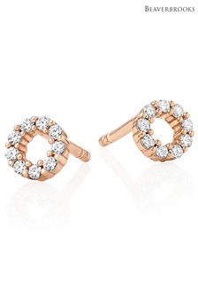 Beaverbrooks Silver Rose Gold Plated Cubic Zirconia Circle Stud Earrings