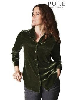 Pure Collection Green Silk Velvet Shirt
