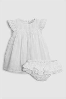 Embroidered Dress With Knickers (0mths-2yrs)