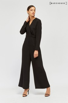 Warehouse Pleat Wrap Wide Leg Jumpsuit