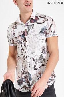 River Island White Floral Print Short Sleeve Shirt