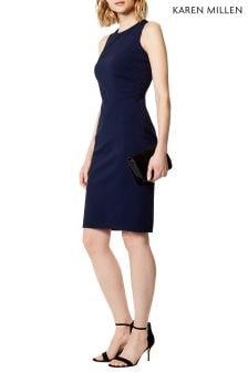 Karen Milen Blue Abstract Cutout Asymmetric Dress