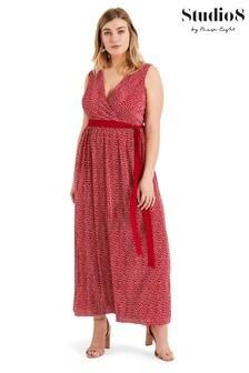 Studio 8 Red Faye Plissé Maxi Dress