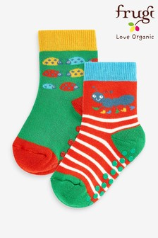 Frugi Organic Cotton Ladybird Non Slip Grippy Socks 2 Pack