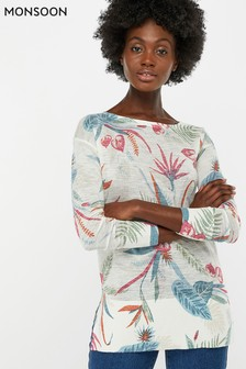 Monsoon Ladies Natural Octavia Print Linen Blend Jumper