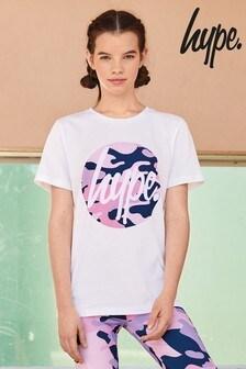 Hype. T-Shirt mit Kreis-Print und Camouflagemuster, weiß