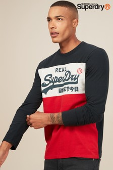 Superdry Navy/Red/White Vintage Logo Panel Long Sleeve Tee